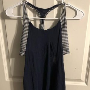 Lululemon tank with checkered built-in bra